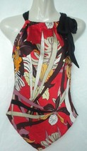 MEXX Womens Size 4 Small Silk Floral Psychedelic Drawstring Neckline Hal... - $24.99