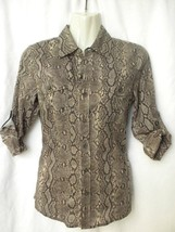 Michael Kors Womens Sz 2 Brown Snake Print Long Roll Up Sleeve Button Down Shirt - $24.99