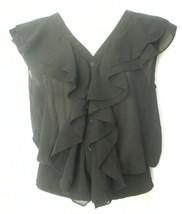 NWT Heartbeat Black Sheer Chiffon Ruffle Front Sleeveless Top Blouse Small - $19.99