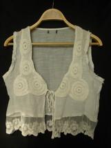 Hippie Boho White Crochet Lace Trim Vest Cardigan Medium - $34.99