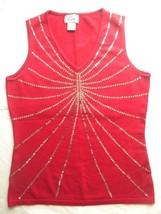 Vtg Henri Pierre Womens Medium Red Sequins V Neck Sleeveless Knit Top Vest - $29.99