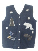 Woolrich Womens Size Medium Ugly Christmas Sweater Wool Vest Polar Bear ... - $658,69 MXN