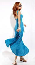 Chic Flirty Low Back Blue Flare Maxi Cotton Dress. Weekend Dress Sundress  - €50,69 EUR