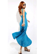 Chic Flirty Low Back Blue Flare Maxi Cotton Dress. Weekend Dress Sundress  - $56.90