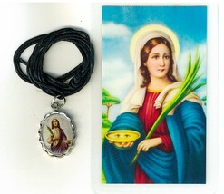 Necklace - Santa Lucia Medal & Holy Card - L161.0232