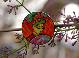 Art Brooch from wood Handmade acrylic painting Jawlensky Resin Jewelry gift - $18.32