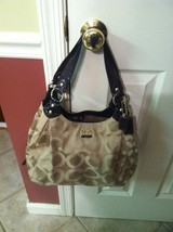 COACH MADISON OP ART KHAKI BROWN LARGE MAGGIE 14305 - $149.99