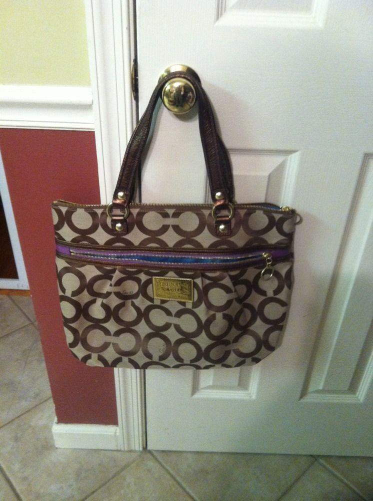 Primary image for COACH POPPY OP ART GLAM Signature Khaki L/XL 15331 Tote Bag PurseEUC $298 NWOT