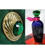 Ungarro Paris Perfume Classic 1/4 Oz Signed Emerald Rhinestone Brooch Pi... - $35.00