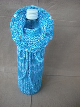 Mix White/Teal Wine bottle cozy,cover,gift bag with Crochet Trim. - $11.99