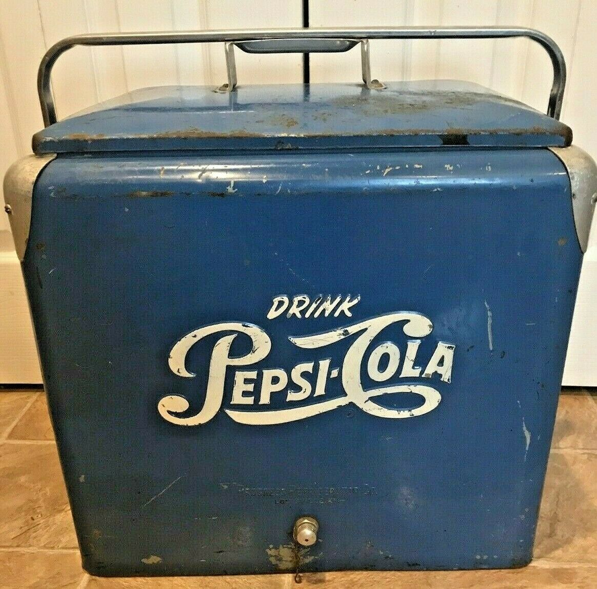 Primary image for Rare Vintage Steel Blue Drink PEPSI Cola Cooler Ice Chest Progress Regrigerator