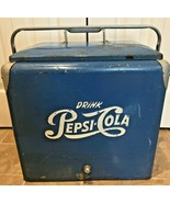 Rare Vintage Steel Blue Drink PEPSI Cola Cooler Ice Chest Progress Regri... - $249.99