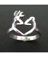 Deer Head Antler Ring - Heart Love Deer for girl - Woodland Fashion Jewelry - $32.00