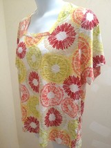 Plus Size 1X Top JM Collection Circles Textured Slinky Short Sleeve Stretch - $21.52