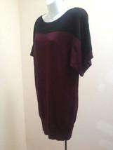 Tu 10 Tunic Jersey Knit Top Purple Black Mini Dress Color Block Boat Neck - $18.60