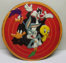 Looney Tunes Round Embossed Metal Sign Candy Shop Warner Brothers Cartoo... - $26.34