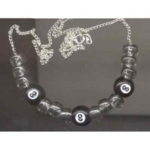 Lucky Funky EIGHT 8-BALL NECKLACE-Retro Pool Billiards Game Bead Costume... - $7.99
