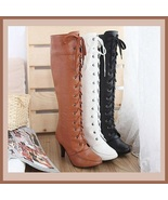 Knee High 2 3/4 inch High Heel Leather Lace-Up Boots in Brown White or Black - $71.95