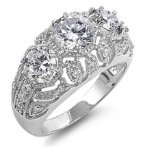 Sterling Silver ring size 8 CZ Engagement Wedding Cocktail Cluster New 925 - $22.87