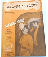 "Vintage Sheet Music - 1944 ""As Long As I Live"" by M. Steiner & C. Tobias... - $10.99"