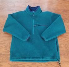 Vintage LL Bean Deep Pile 1/2 Zip Pullover Fleece Jacket Green Womens La... - $29.69