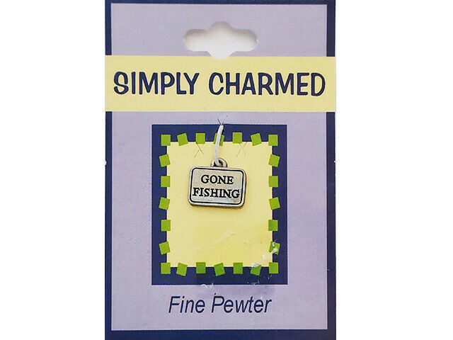 """Quest Simply Charmed """"Gone Fishing"""" Fine Pewter Charm"""