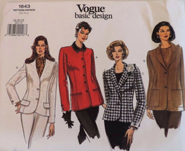 Vogue 1643 Jacket Pattern Four Classic Options Misses SZ 18-22 Uncut FF ... - $26.43