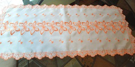 """Vintage Sheer Tangerine Embroidered Butterfly Table Runner 14"""" x 42"""" #1179 - $17.99"""