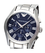 NEW EMPORIO ARMANI MEN'S CLASSIC STAINLESS STEEL BLUE CHRONOGRAPH WATCH AR1635 - $168.25