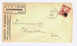 Chase Nurseryman Augusta ME 1888 advertising stamp cover postal gardening - $9.00