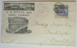 Mason organ advertising cover 1869 Essex Vt postal hand stamp history - $60.00