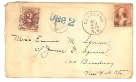 1885 cover 2 cent due stamp Cortland NY Squires postal histoy - $45.00