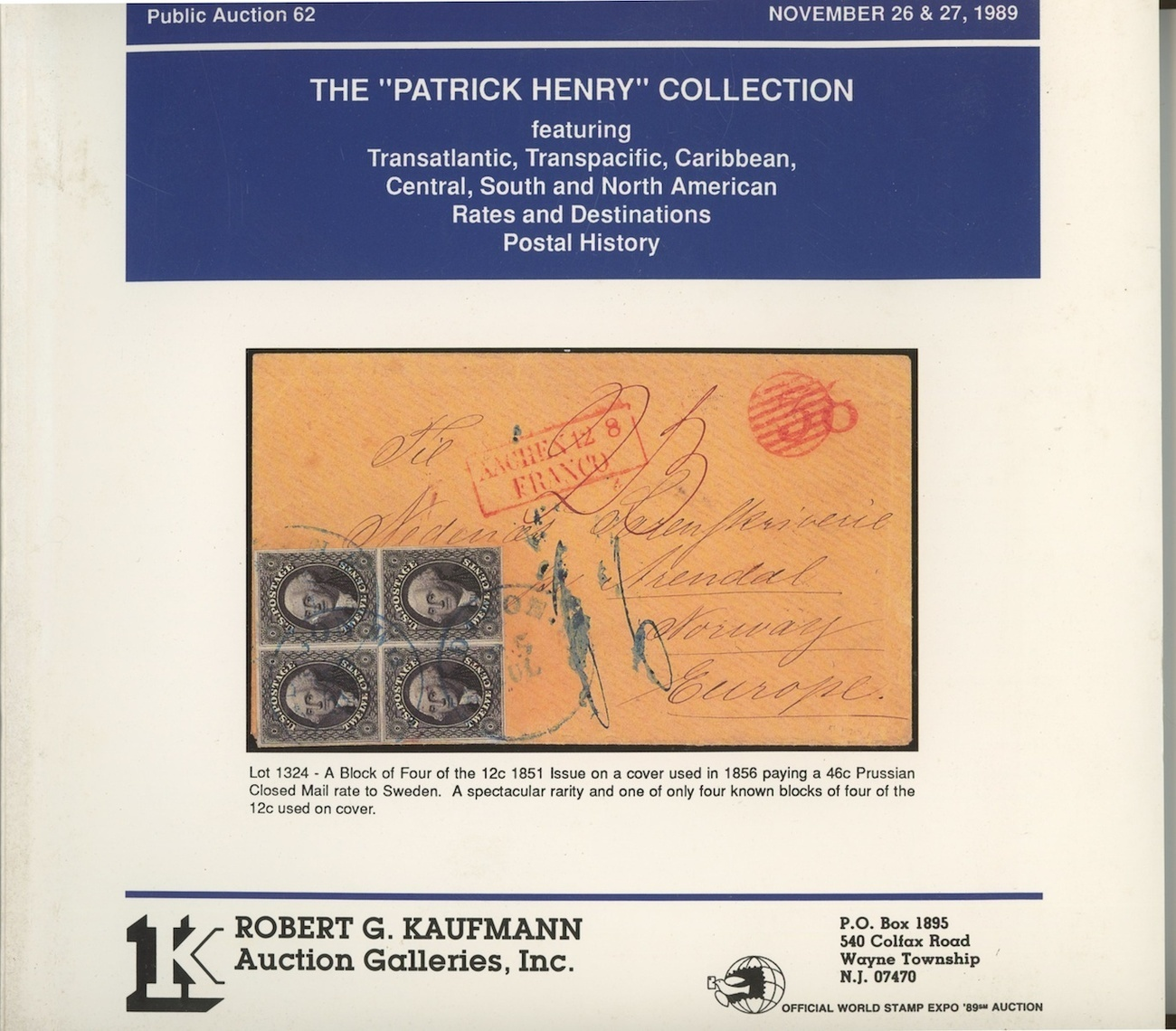 Patric Henry Collection Kaufmann auction catalog stamps postal history philateli