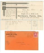 Buck  Co invoices advertising cover 1907 hardware paint Palmer MA ephemera - $12.00