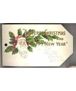 Victorian Santa Christmas tag vintage holly pretty - $9.00