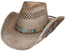 Bullhide From The Heart Panama Straw Cowgirl Hat Vented Turquoise Concho Natural - $91.00