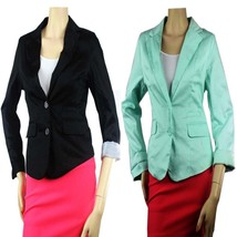 Cotton One-Button Long Sleeve BLAZER Lining,Pockets, Nice Shape Casual S... - $26.99