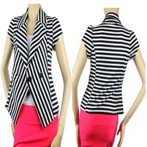 Cute Black/White Striped Two-Button Short Sleeve BLAZER Nice Shape Suit ... - $26.99