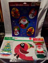 Christmas Mix Lot Lazer Window Cling Glitter Decor Sign 40 Gift Bags & T... - $5.92