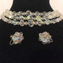 Vintage Austrian Crystal 3 Tiered Necklace & Screw-back Earring Set - $34.16