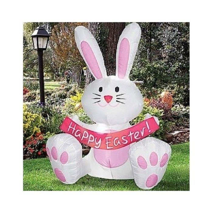 Easter Bunny Decoration Rabbit Airblown Inflatable 4 Feet Tall  Outdoor Pink New