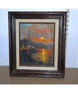 "W Vennekamp  Oil Painting  Ship at Sunset Signed by Artist 14"" x 12"" - $49.36"