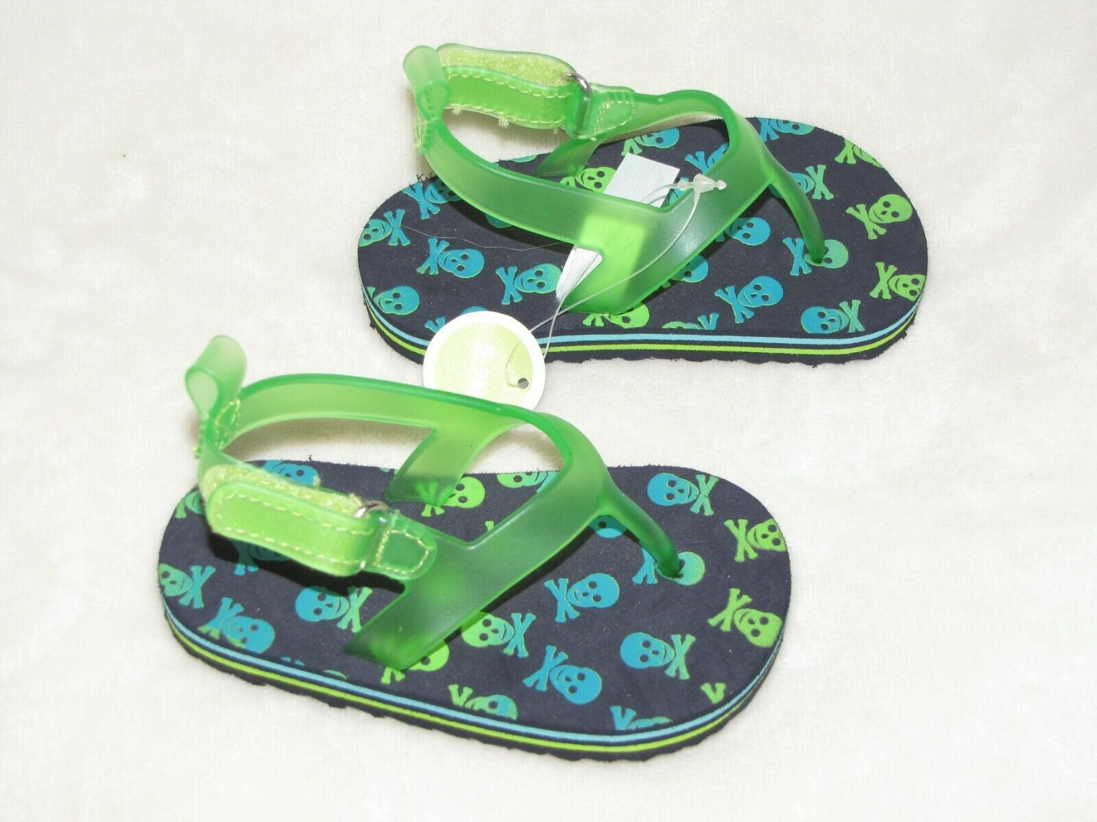 CIRCO INFANT BABY BOY 6-9 MONTHS SKULL CROSSBONES GREEN SWIM SANDALS SHOES NEW
