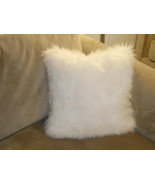 1 Piece Bright White faux fur cushion With sued... - $24.50