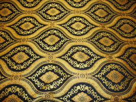 """56"""" Wide Treasure Black Transitional Chenille Fabric with Gold upholstery furnit - $10.95"""