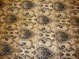 """56"""" Wide Monte Cristo Black Damask Chenille Fabric with Gold upholstery furnitur - $10.95"""