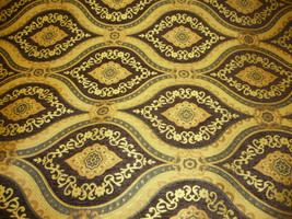 """56"""" Wide Treasure Dark Brown Transitional Chenille Fabric with Gold upholstery f - $10.95"""