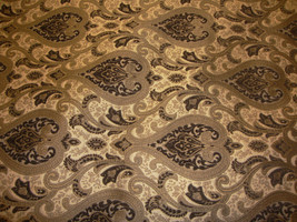 """56"""" Wide Monte Cristo Dark Brown Damask Damask  Chenille Fabric Gold with uphols - $10.95"""