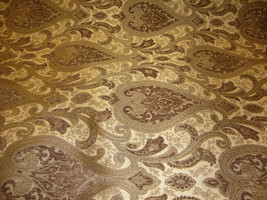 """56"""" Wide Monte Cristo Pecan Damask Chenille Fabric with Gold upholstery furnitur - $10.95"""