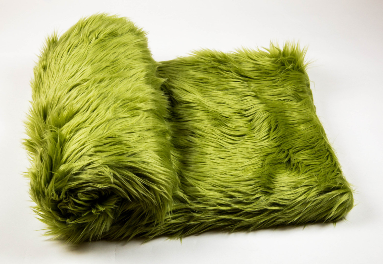 """108"""" x 60""""  Olive faux fur Shaggy Throw Blanket / Bed Spread Coverlet  / Soft Ul"""